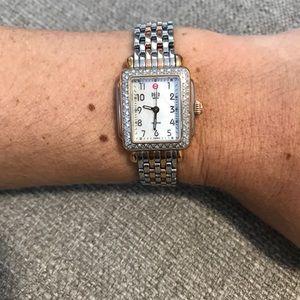 Michele diamond two tone mini deco watch